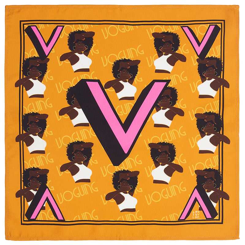 'V' silk pocket square