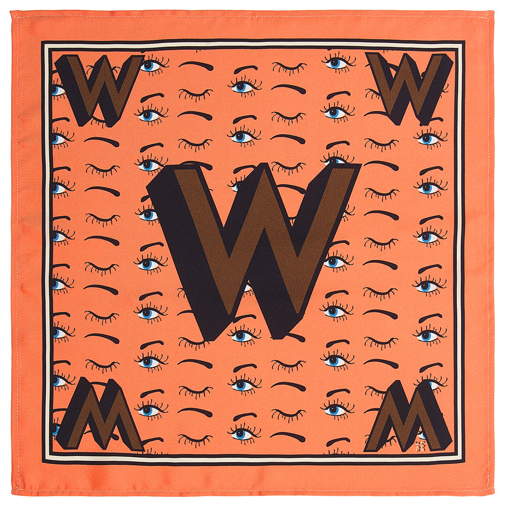 'W' silk pocket square