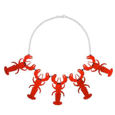 Statement Lobster Necklace (red mirror)