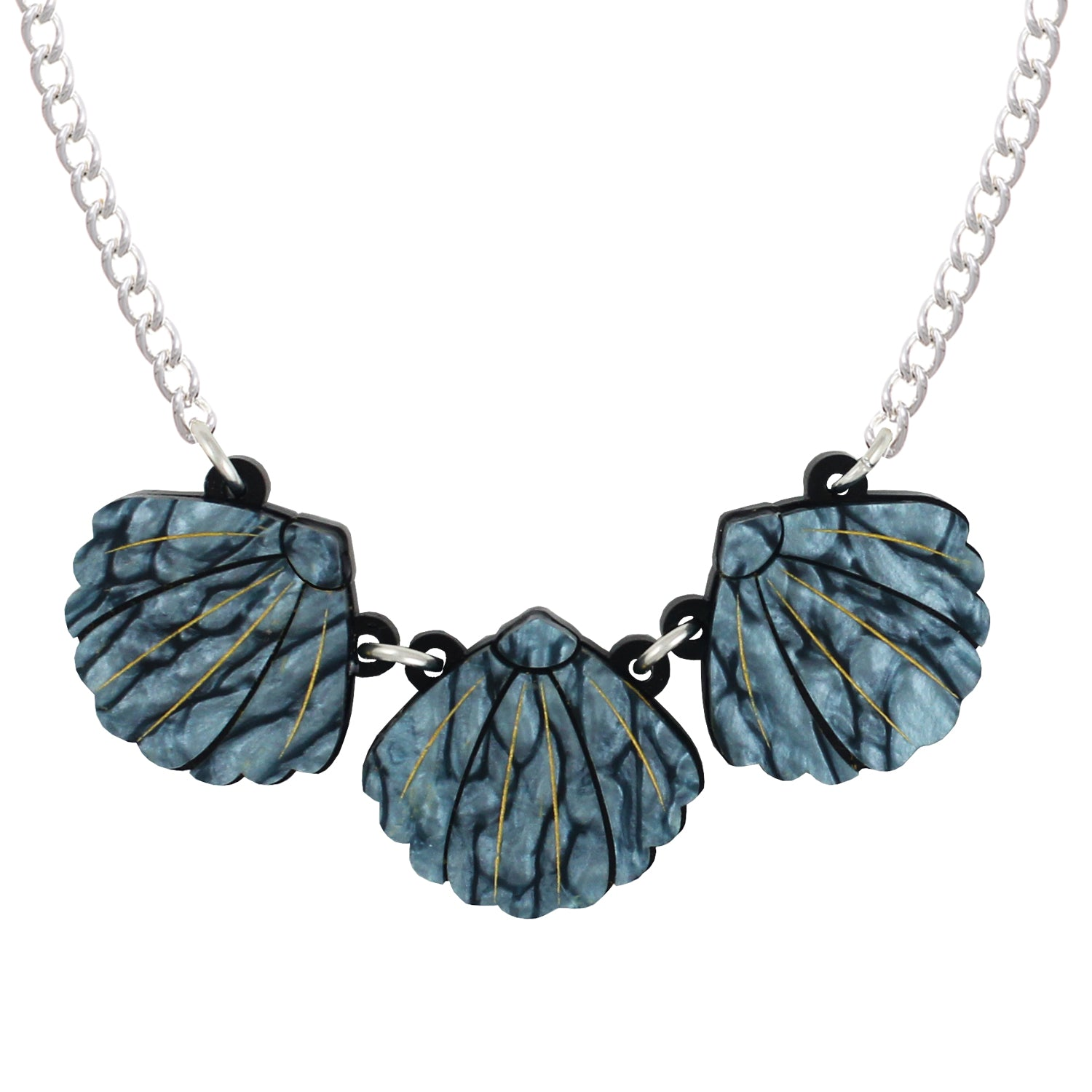 Triple Blue Shell necklace