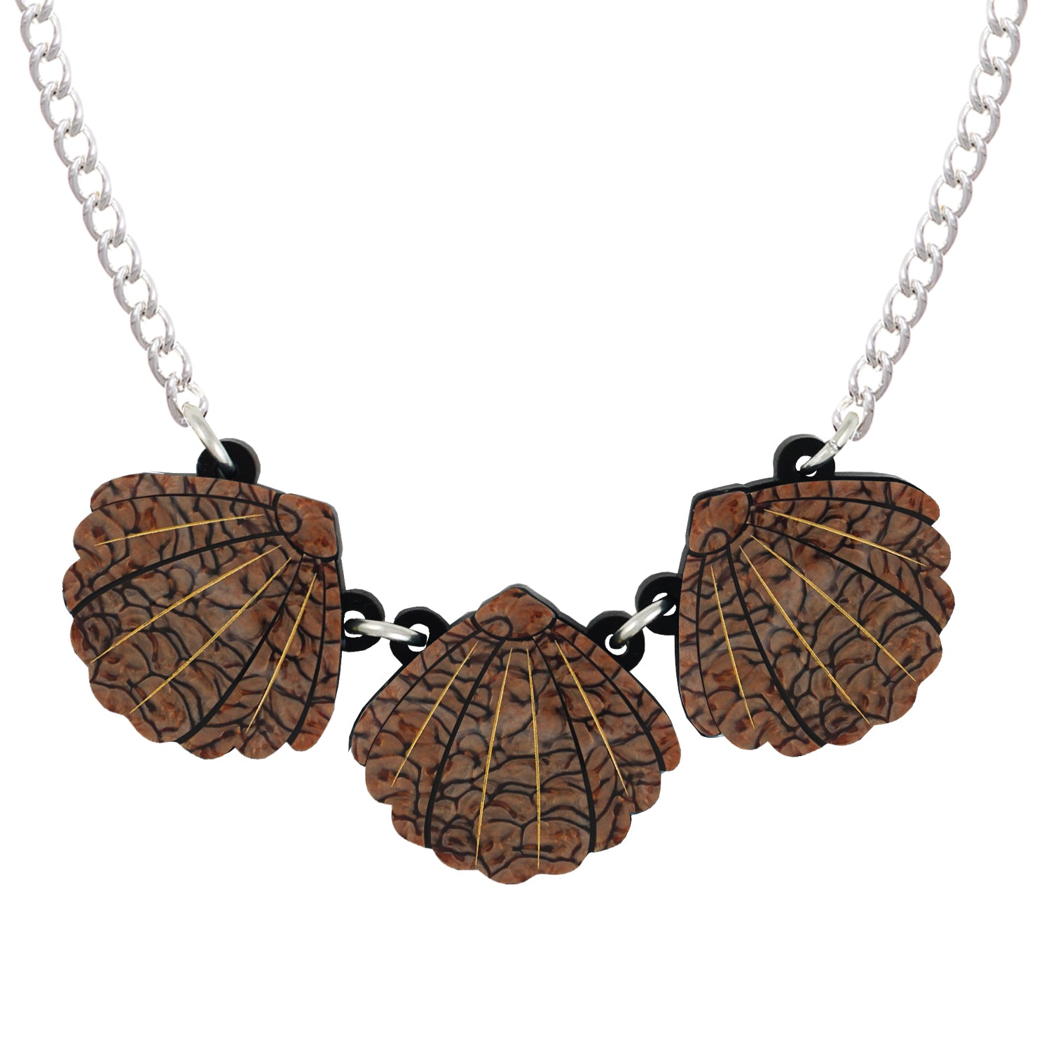 Triple Brown Shell necklace