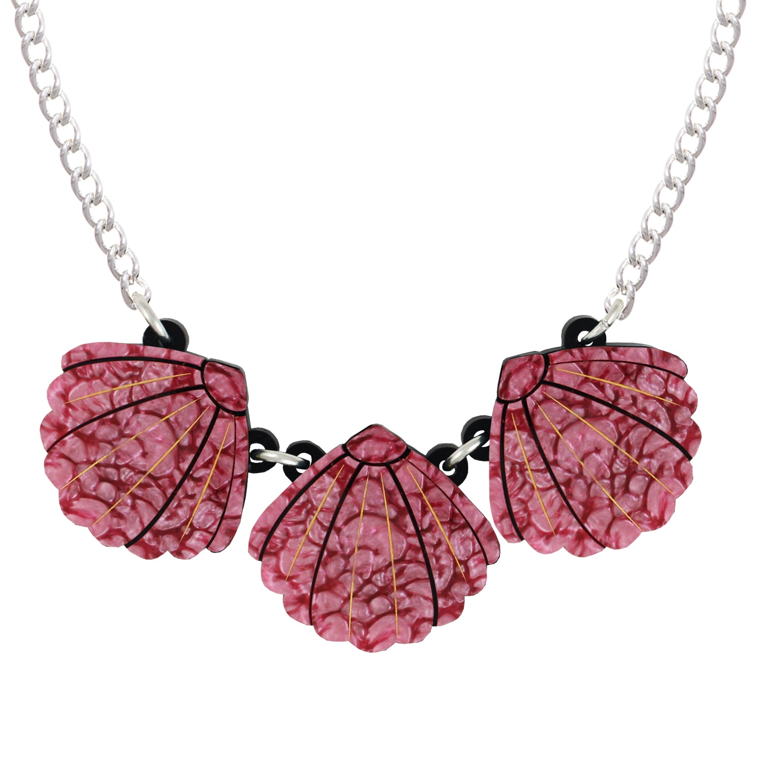 Triple Pink Shell necklace