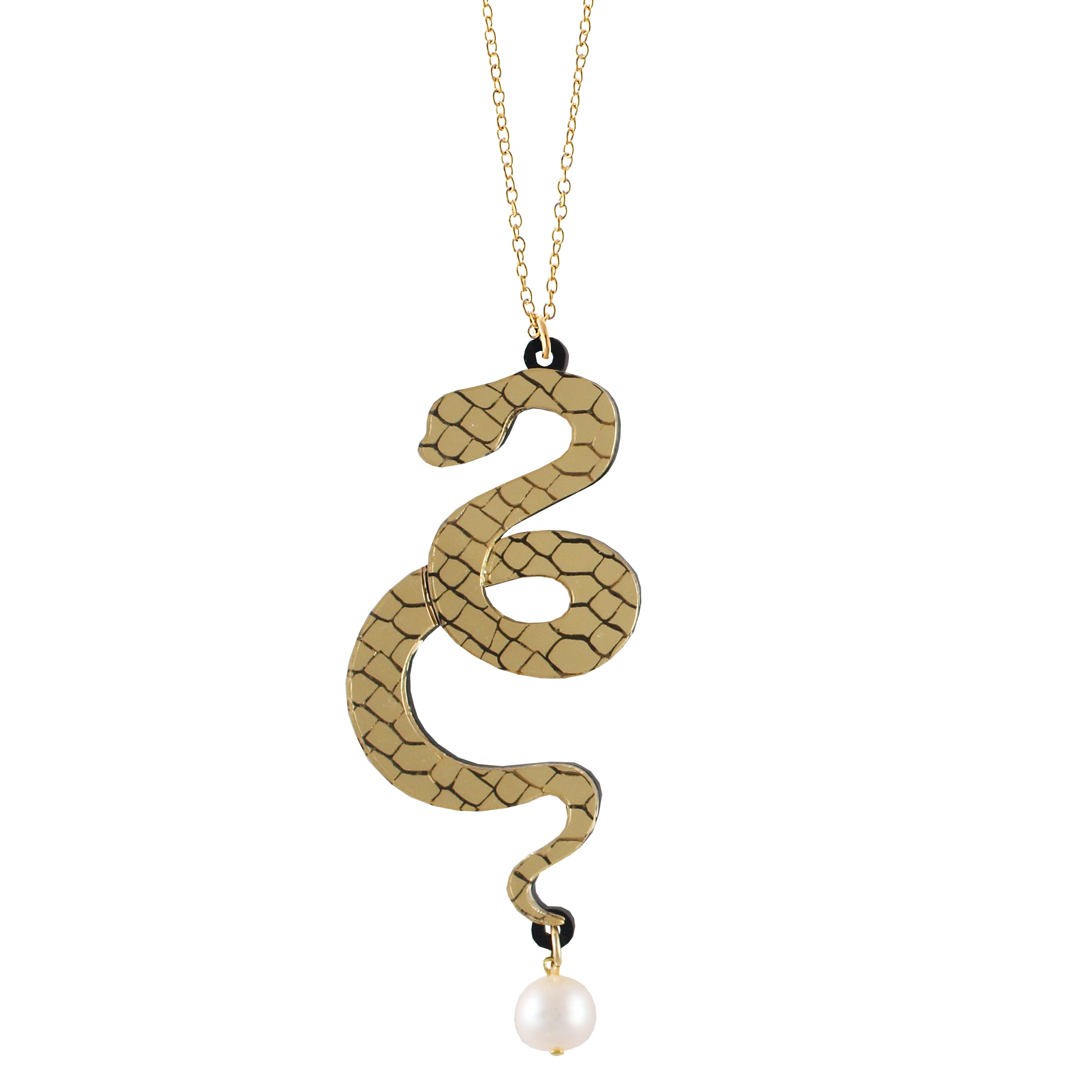 Snake and pearl necklace