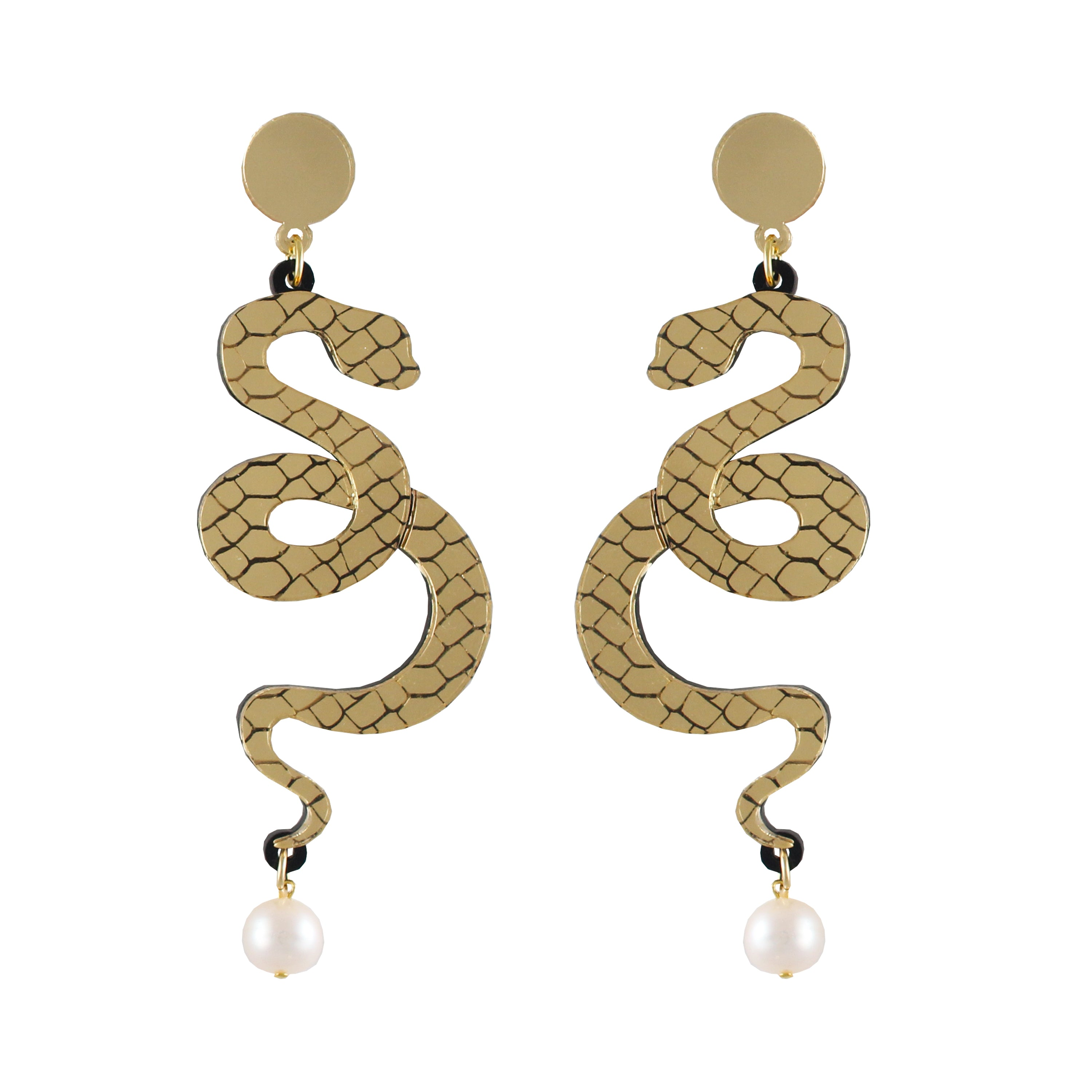 Snake and pearl Ear-rings