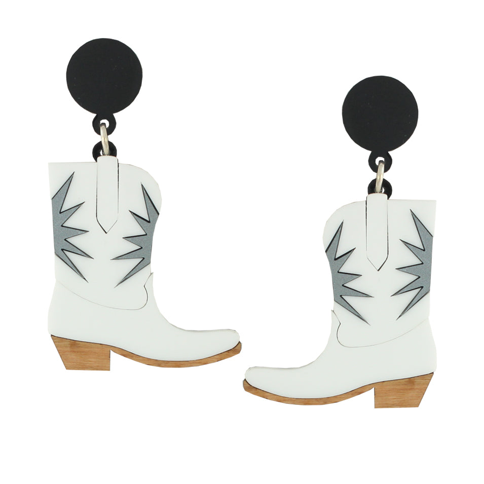 Cowgirl boot ear-rings - white