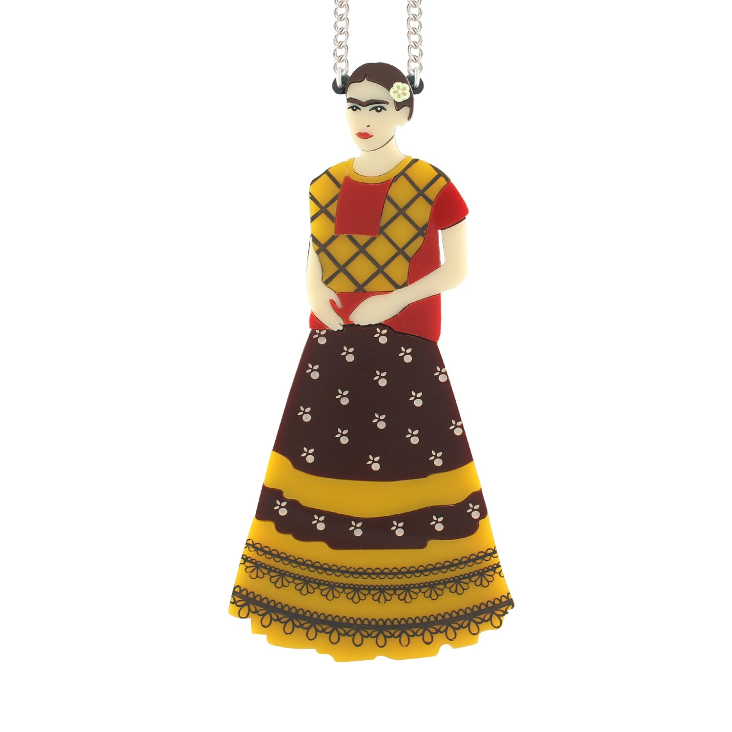 Frida doll necklace - yellow