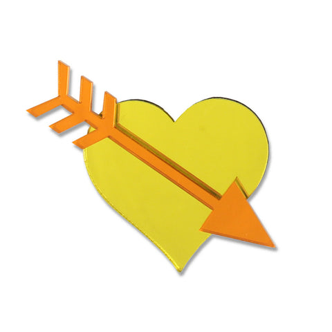 Straight Through The Heart Brooch (Yellow)