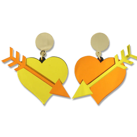 Straight Through the Heart Ear-rings (orange/yellow)