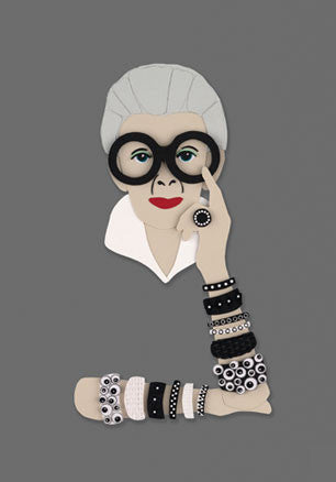 Iris Apfel Greetings Card (grey)