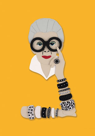 Iris Apfel Greetings Card (yellow)