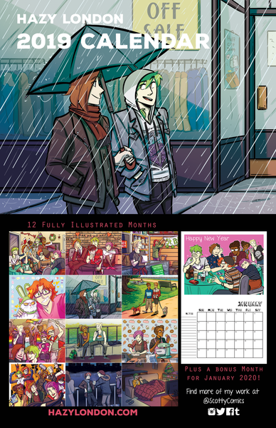 Hazy London 2019 Calendar from Crystal Jayme (Scotty) - Webcomic Merchandise