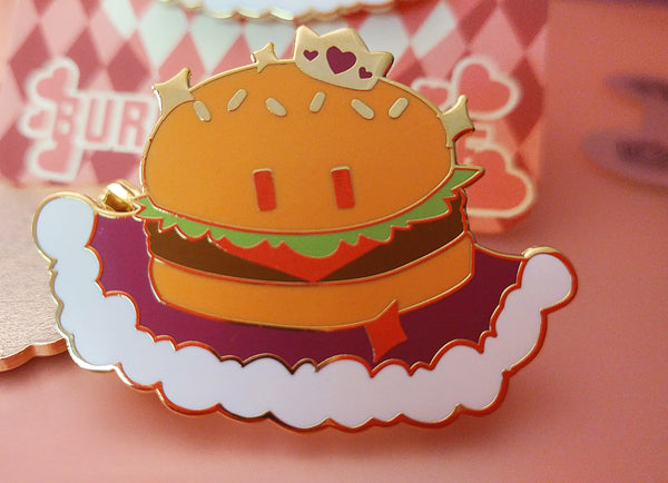 Burger Prince Enamel Pin from Ghost Junk Sickness - Webcomic Merchandise