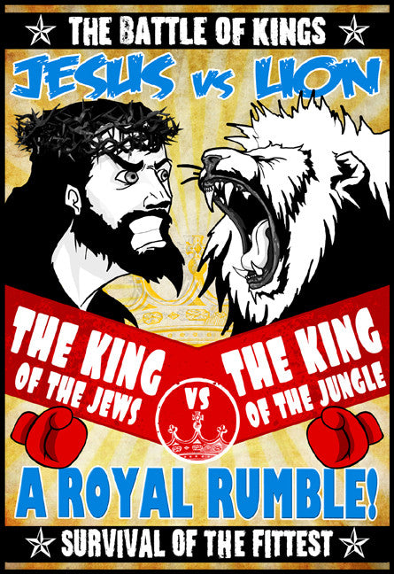 SMBC - Jesus vs Lion Poster from SMBC - Webcomic Merchandise