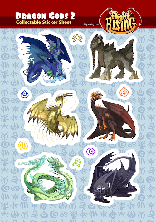 Dragon Gods Sticker Sheet 2 from Flight Rising - Webcomic Merchandise