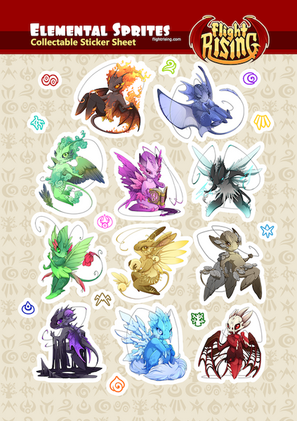 Elemental Sprites Sticker Sheet from Flight Rising - Webcomic Merchandise