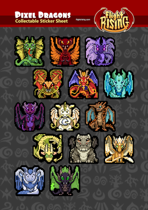 Pixel Dragons Sticker Sheet from Flight Rising - Webcomic Merchandise