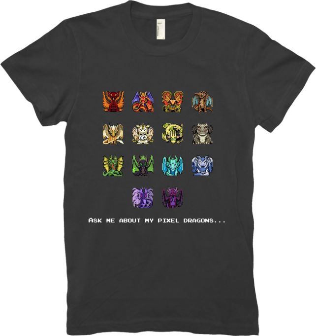 Ask Me About My Pixel Dragons Tee (Women's) from Flight Rising - Webcomic Merchandise