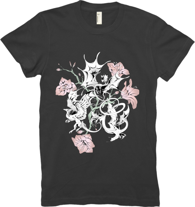 Halftone Lilies Tee (Women's) from Flight Rising - Webcomic Merchandise