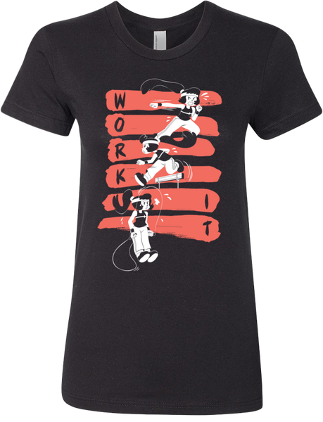 Work It! Red and Black Tee (Women's) from Tove - Webcomic Merchandise