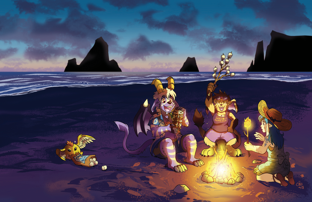S'mores on the Beach Print from Slightly Damned - Webcomic Merchandise