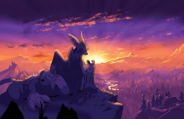 Sibling Sunset Print from Slightly Damned - Webcomic Merchandise