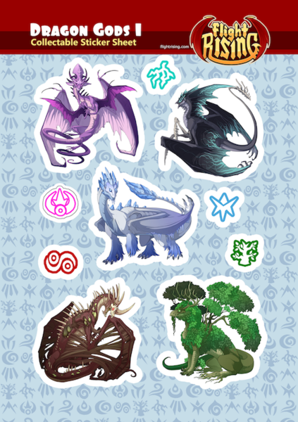 Dragon Gods Sticker Sheet 1 from Flight Rising - Webcomic Merchandise