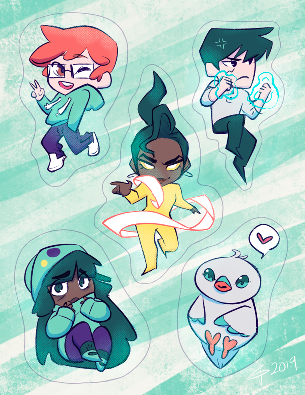 Anacrew Stickers from Anacrine Complex - Webcomic Merchandise