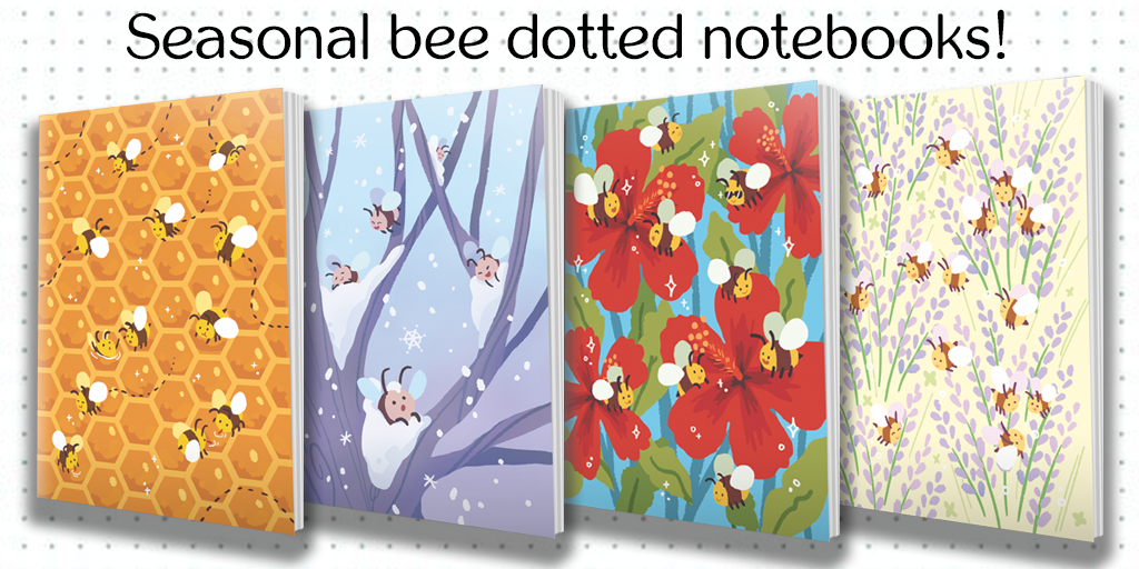 Seasonal Bee Notebooks from Hiveworks - Webcomic Merchandise