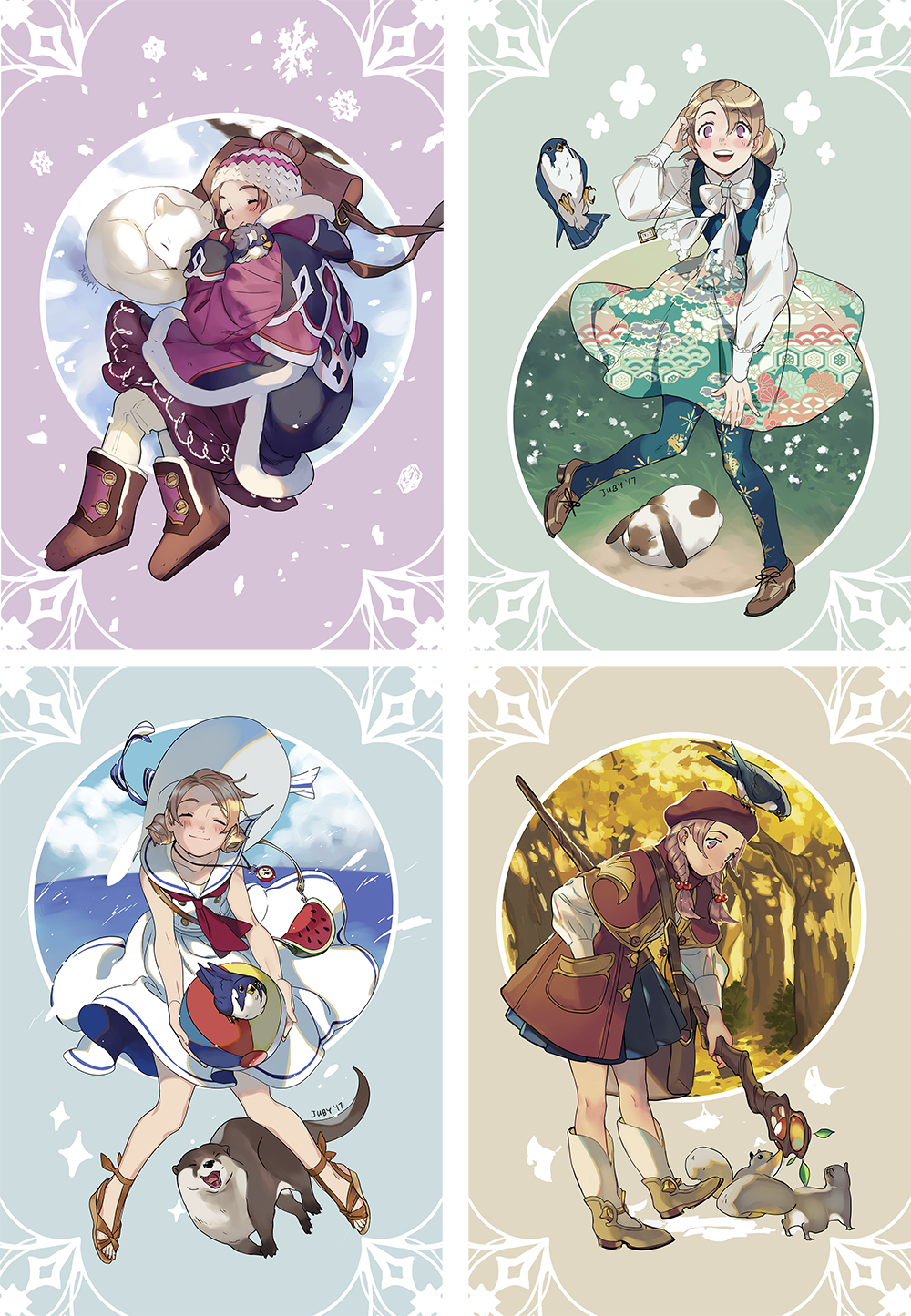 Cut Time Seasons Postcard Set