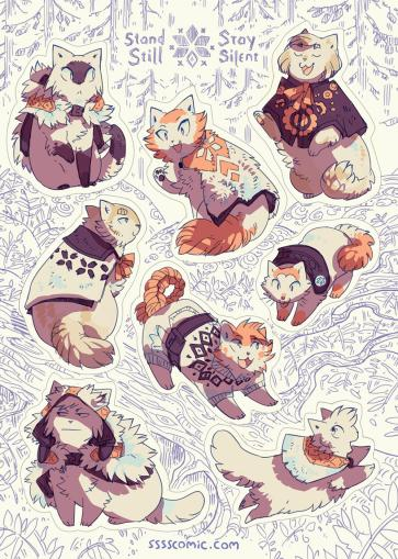 Stand Still Stay Silent - Sticker Sheet from Stand Still Stay Silent - Webcomic Merchandise