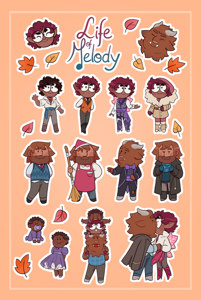 Life of Melody - Postcard and Sticker Set from Peritale - Webcomic Merchandise
