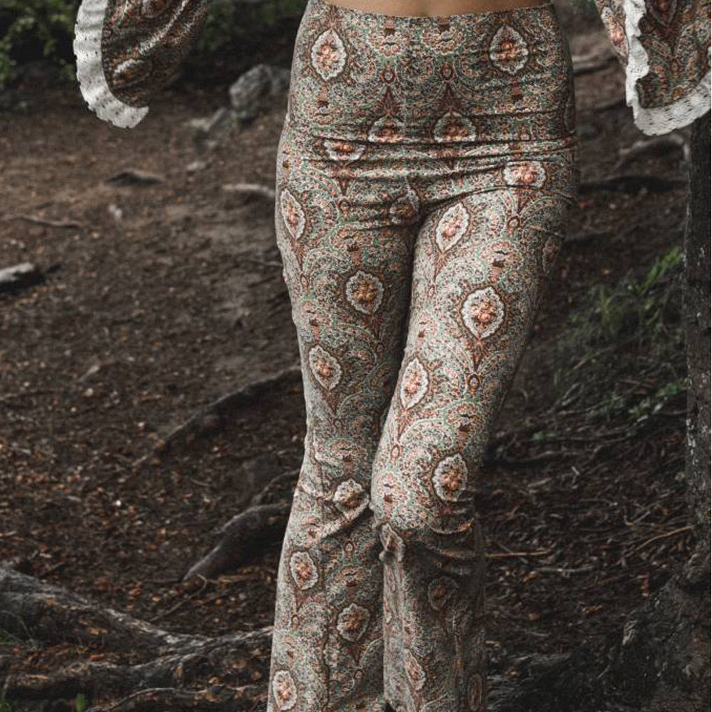 Paisley Bra Crop Top with Jumbo Bell Sleeves + High Waist Flare Trousers