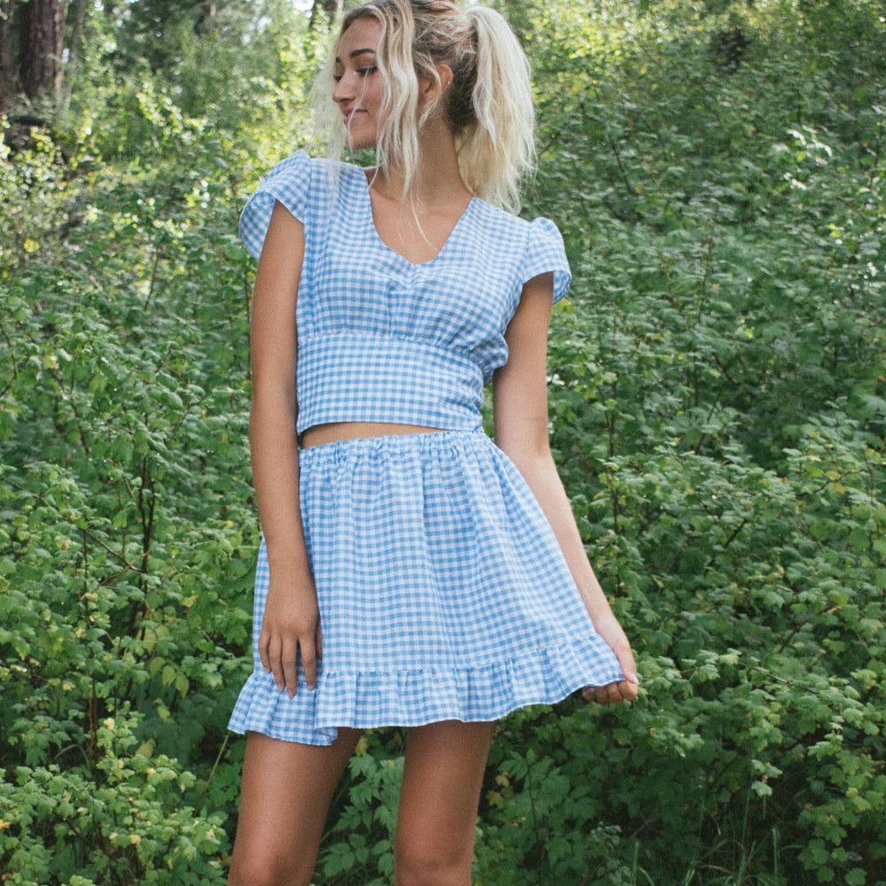 Gingham Cap Sleeve Crop Top & Circle Mini Skirt