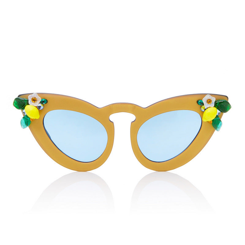 A-Morir Eyewear - Whiskey Sour Gold Cat Eye With Clear Blue Lenses + Lemons