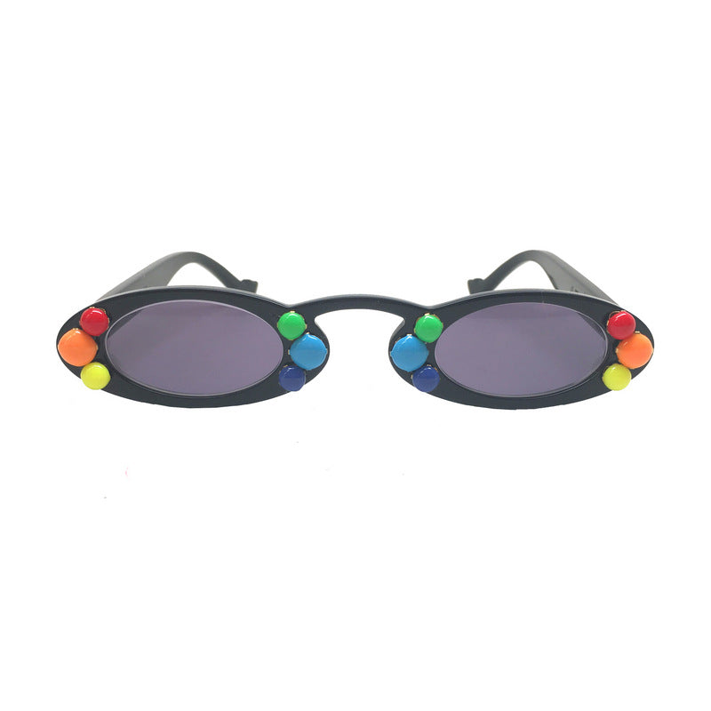 A-Morir Eyewear - Bozzio Mini Black Oval Frame With Rainbow Accents