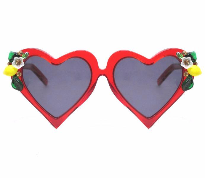 A-Morir Eyewear - Lemon Cosmo Red Heart Sunglasses With Fruit And Crystals