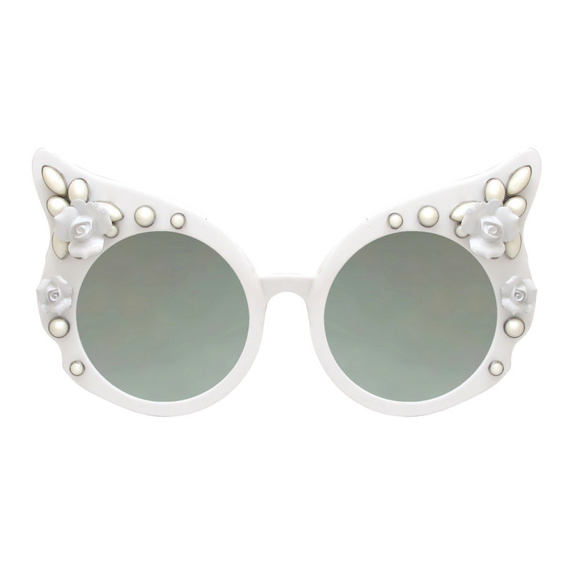 A-Morir Eyewear - Carol White Floral Cat Eye With Mirror Lenses
