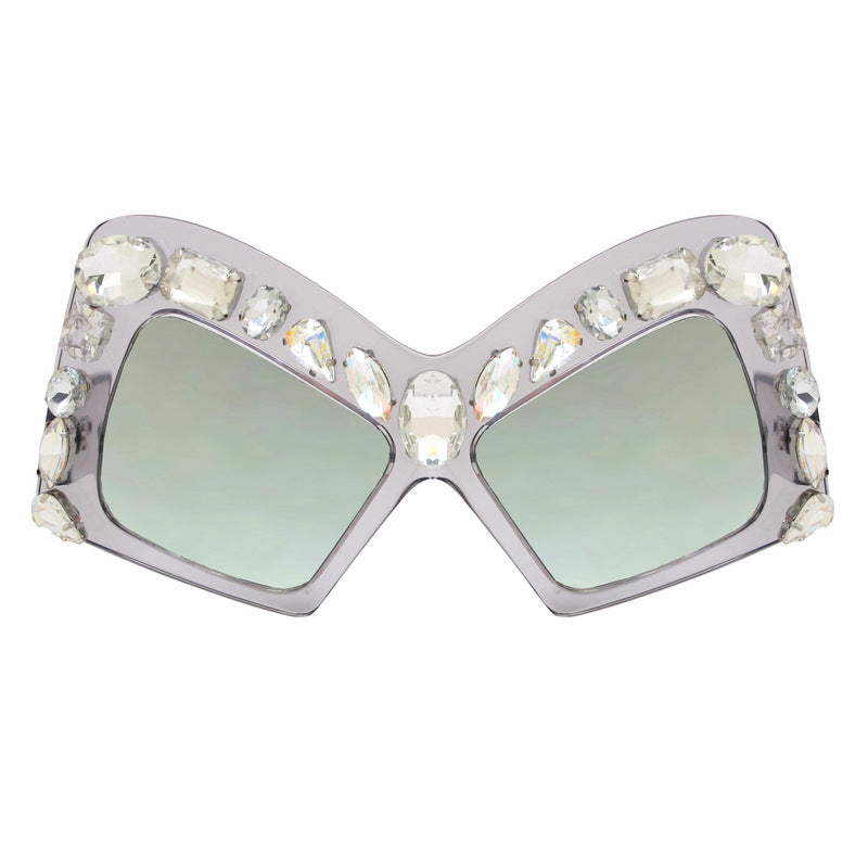 A-Morir Eyewear - Rubin Sheer Square Frame With Gems and Smoke Lenses