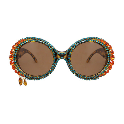 A-Morir June Round Gem Sunglasses With Teardrops