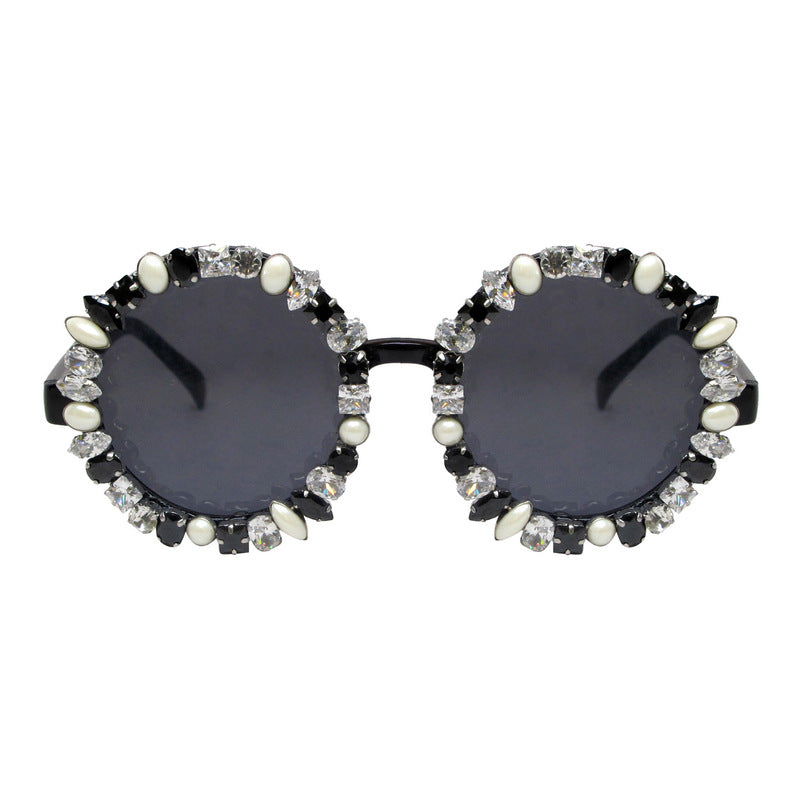 A-Morir Eyewear - Lennox Round Sunglasses In Honey With Pearls and Gems
