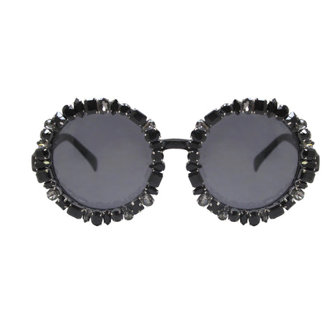 A-Morir Lennox Round Gem Sunglasses in Black
