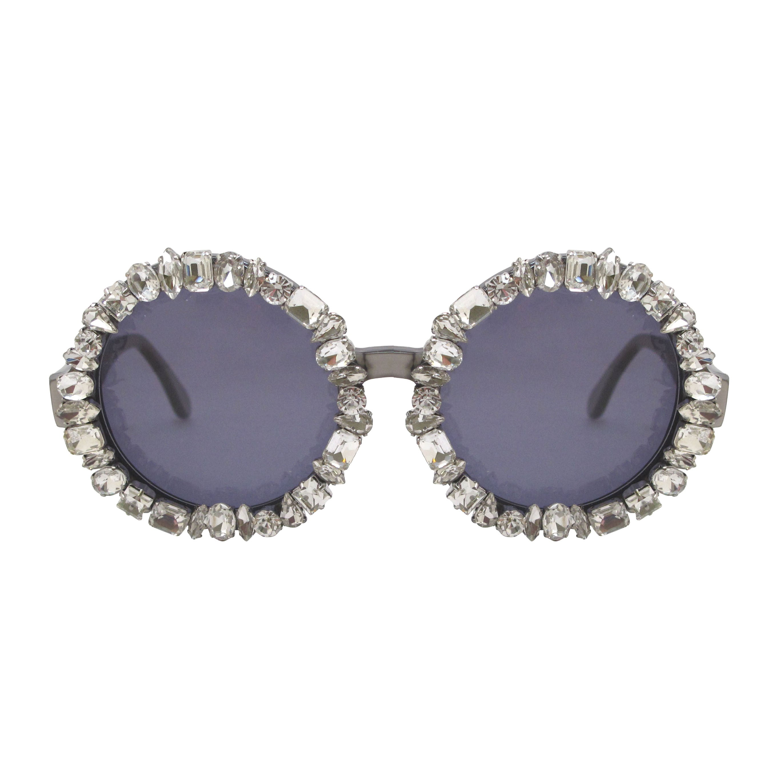 A-Morir Lennox Round Gem Sunglasses in Crystal