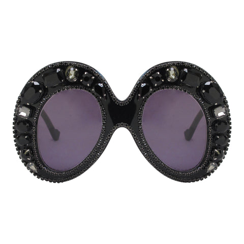 A-Morir Marguerite Mask Gem Sunglasses in Black