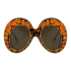 A-Morir Marguerite Mask Gem Sunglasses in Orange Tortoise