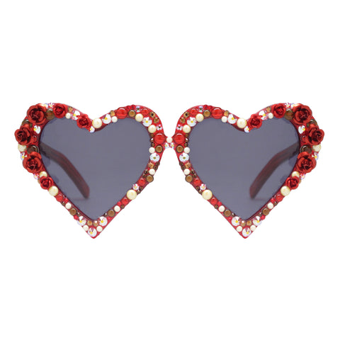 Kate red heart shaped sunglasses