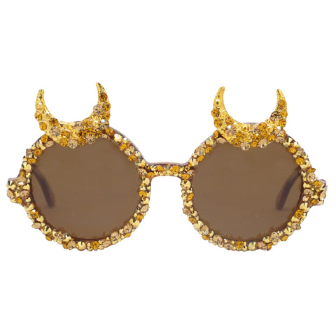 Hagen moon embellished round sunglasses