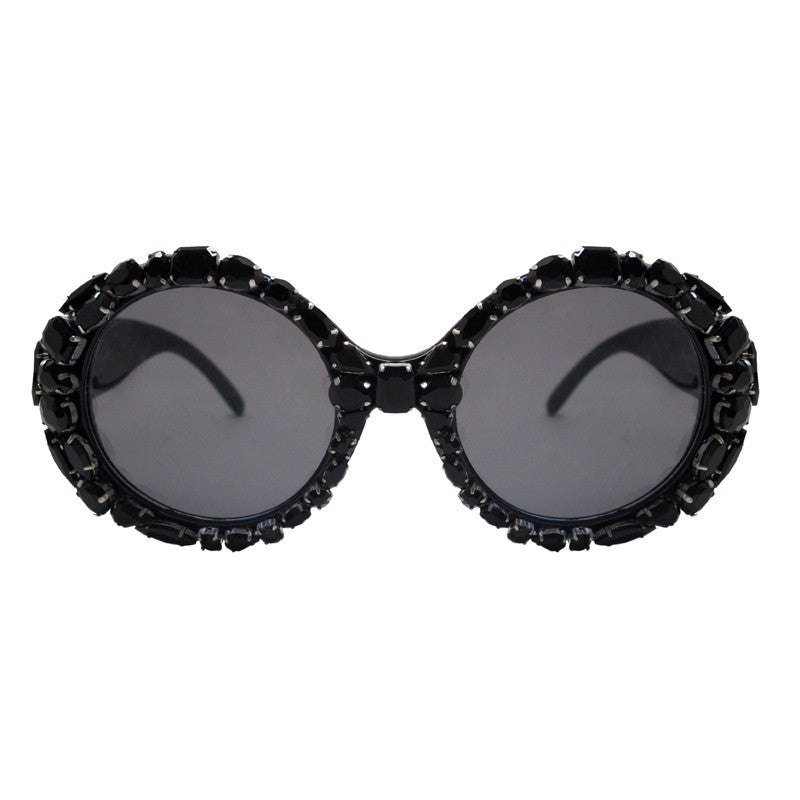 A-Morir Wilson Large Black Crystal Gem Sunglasses