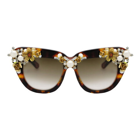 Davis gold embellished oversize sunglasses