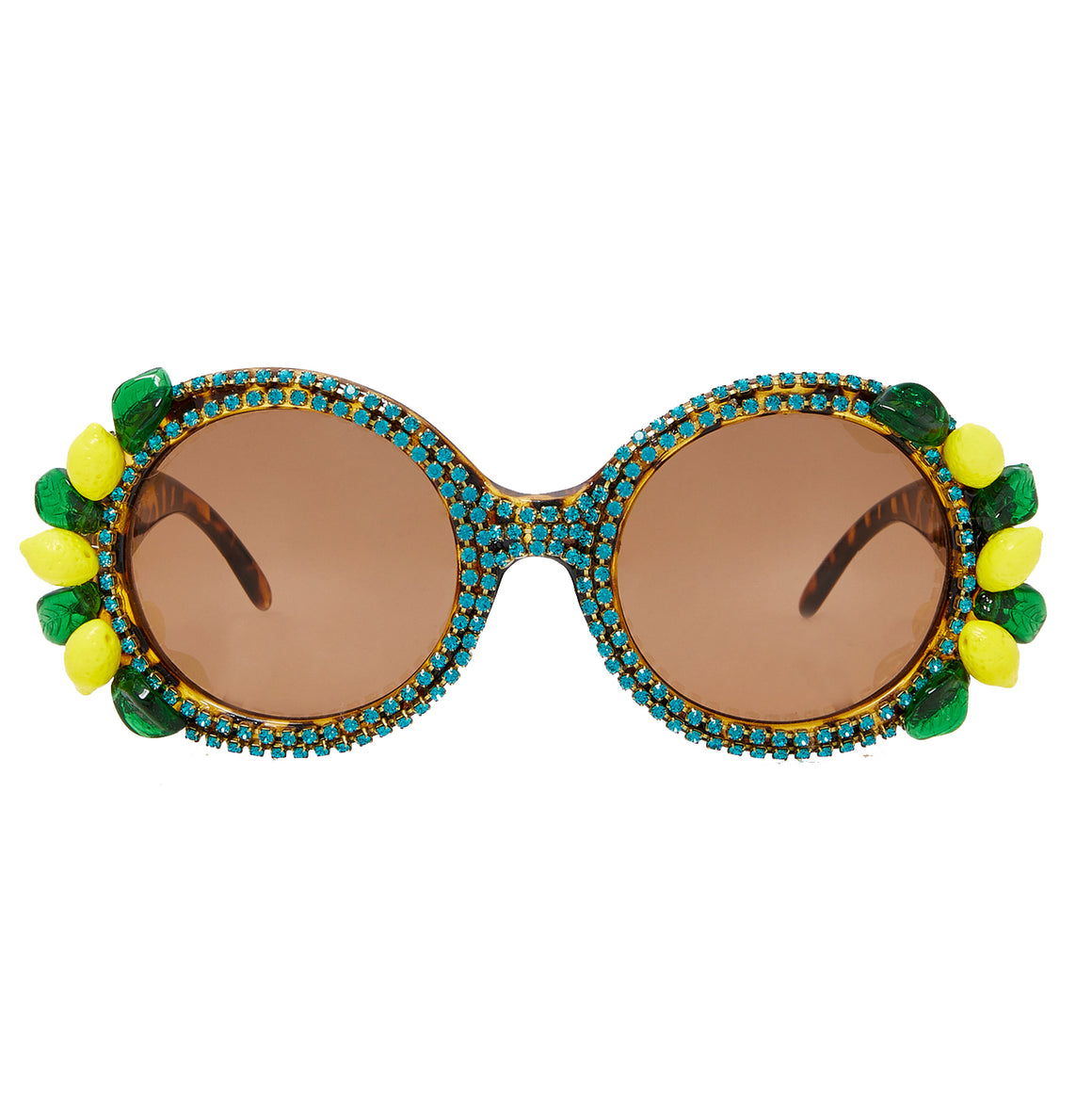 A-Morir Eyewear - Blue Lagoon Round Frame With Crystal Chain and Glass Fruit Beads