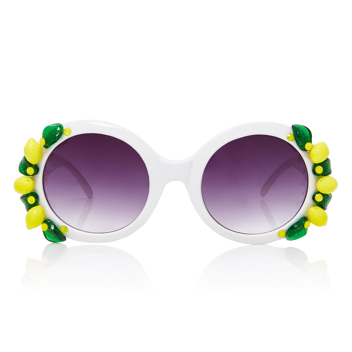 A-Morir Eyewear - Lemon Daquiri White Round With Glass Lemons + Leaves